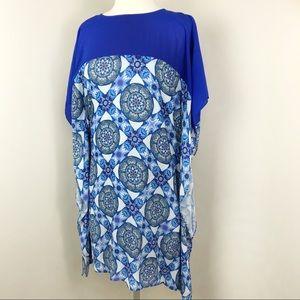 Badgley Mischka For Le Tote Medallion Caftan Dress